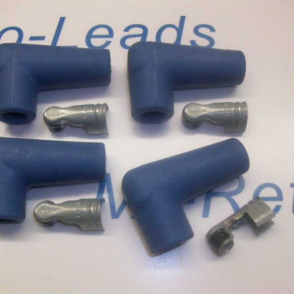 "Blue Silicone Spark Plug Rubber Boot Fitting Plus 4 X Terminals 4 X 90"" Degree"