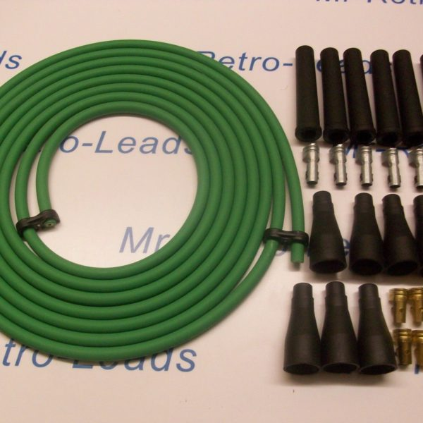 Green 8mm Performance Ignition Lead Kit Cable For 6 Cly 4 Meters All Kit Cars..