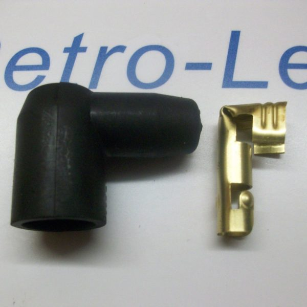 Ignition Lead Distributor Plug Fitting Rubber Boot Cap  & Terminal 90 Degree