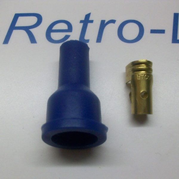 Ignition Lead Distributor Plug Fitting Blue Silicone Boot Cap Terminal Straight