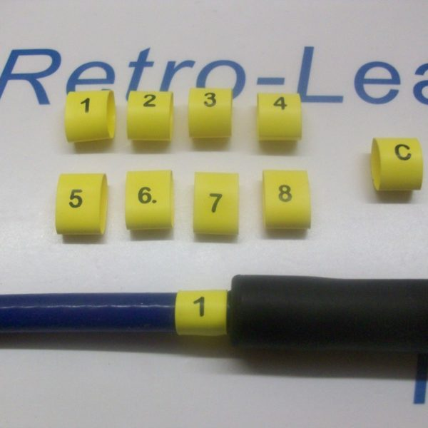 Ignition Lead Plug Numbers 1 / 8 Heat Shrink Ht Lead Black On Yellow  1 / 8 & C