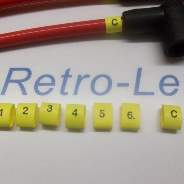 Ignition Lead Plug Numbers 1 / 6 Heat Shrink Ht Lead Black On Yellow  1 / 6 + C