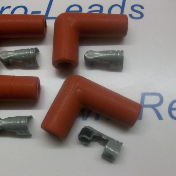 "Red Ignition Spark Plug Rubber Boot Fitting  90""degree + Terminals X 6 Quality"