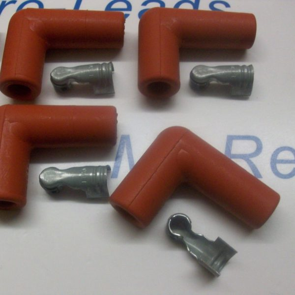 """Red Ignition Spark Plug Rubber Boot Fitting Cover  8 X 90""""degree Terminals Ht"""