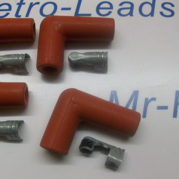 """Red Silicone Spark Plug Rubber Boot Fitting Plus 4 X Terminals 4 X 90"""" Degree"""