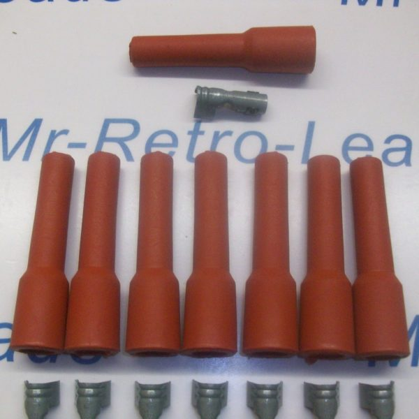 Retro Red Ignition Spark Plug Rubber Boots & Terminals X 8  Full Set V8 Engine