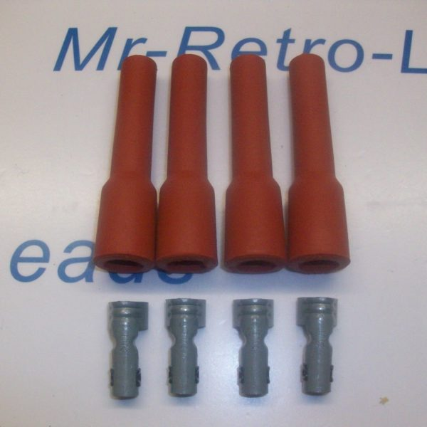 Retro Red Ignition Spark Plug Rubber Boots & Terminals X 4 Full Set 4 Pot Engine