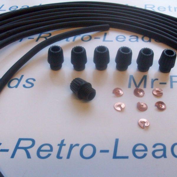 Black 7mm Copper Ignition Lead Kit For Jaguar Mk 2 Xj6 Xk 6 Cyl With Acorns