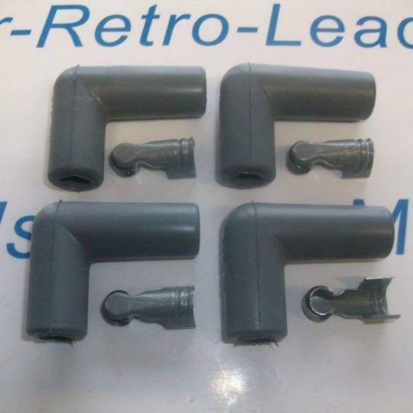 """Grey Silicone Spark Plug Rubber Boot Fitting Plus 4 X Terminals 4 X 90"""" Degree"""