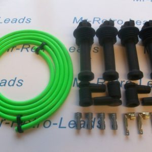 Lime Green 8mm Performance Ignition Lead Kit Silver Top Kit Cars 117mm Boots