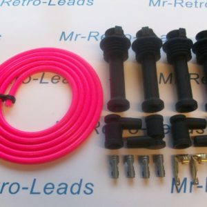 Pink 8mm Performance Ignition Lead Kit Zetec Silver Top Kit Cars 117mm Boots