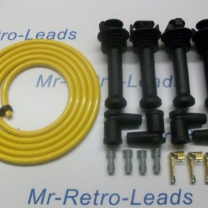 Yellow 8mm Performance Ignition Lead Kit For The Black Top Kit Cars 111mm Boots